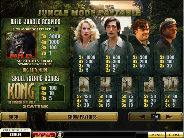 king kong cash slot free play